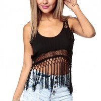 Keep It Cool Black Fringe Crop Top @ Cicihot Top Shirt Clothing Online Store: Dress Shirt,Sexy Womens Shirt,T Shirts,Corset Dress,White T Shirt,Girl T Shirt,Short sleeve top