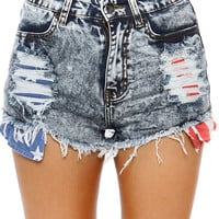Papaya Clothing Online :: ACID WASH RIPPED SHORTS