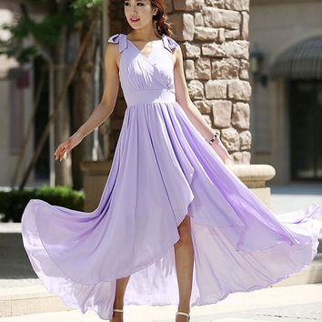 Woman maxi dress tulle dress wedding dress in purple (995)