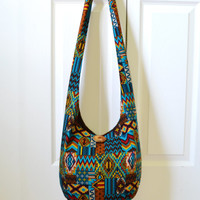 Hobo Bag, Aztec, Sling Bag, Southwestern, Patchwork, Geometric, Brown, Blue, Red, Yellow, Hippie Purse, Crossbody Bag