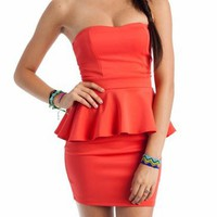 peplum tube dress &amp;#36;31.70 in CORAL - Dressy | GoJane.com