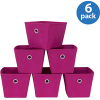 Walmart: Mainstays Mini Bins, Fuchsia with Silver Grommets, Set of 6