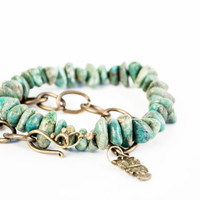 Turquoise Nuggets Adjustable Bracelet - Antique Bronze  - Owl Charm