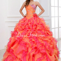 strapless multicolor Quinceanera Ball gowns Wedding Pageant Formal Prom Dresses