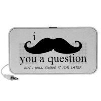 I Mustache You A Question Mini Speaker from Zazzle.com