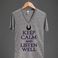 keep calm and listen well malecefent- vneck-JH - glamfoxx.com - Skreened T-shirts, Organic Shirts, Hoodies, Kids Tees, Baby One-Pieces and Tote Bags