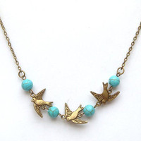 Antiqued Brass Bird Turquoise Necklace by gemandmetal on Etsy