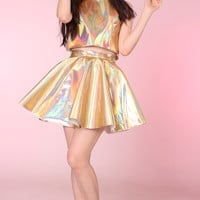 Glitters For Dinner — Made To Order - Daniela PVC Set in Gold Holographic