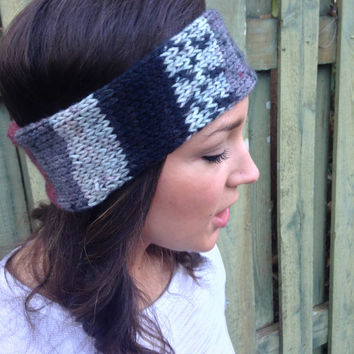 Women's Multicolored Shades of Gray Knit Headband / Knitted Headband/ Knit Earwarmer Also for Girls or Toddlers