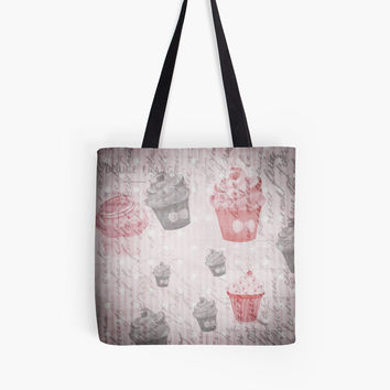 Shabby chic Cupcake 1 Lover Throw pillow and Tote Bags