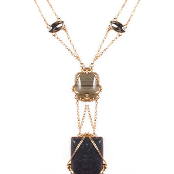 Wired Stone Double Chain Necklace - Black/Gold / One