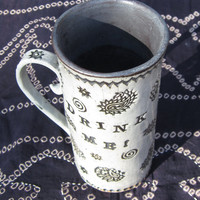 "Large MUG ~ Black ~ ALICE in WONDERLAND inspired ""DrInK Me"" ~ Tapestry ~ Gift"