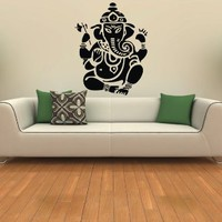 Ganesh Ganesha Elephant Lord of Success Hindu Hand God Buddha Indian Design Wall Vinyl Decals Art Sticker Home Modern Stylish Interior Decor for Any Room Smooth and Flat Surfaces Housewares Murals Design Graphic Bedroom Living Room (4192)