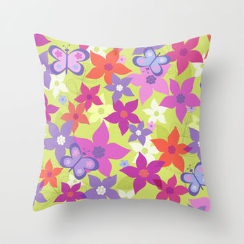 happy garden Throw Pillow by Juliagrifol designs | Society6