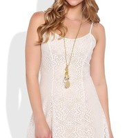 Crochet Lace Slip Dress with Criss Cross Back