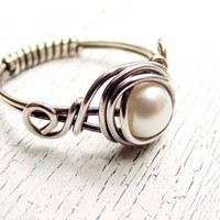 Wire Wrapped Ring Fresh Water Pearl Sterling Silver Ring Antiqued | WestWindCreations - Jewelry on ArtFire