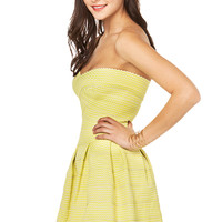 Scalloped Bandage Dress in Lime