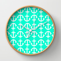 Anchor Pattern Emerald Wall Clock by LookHUMAN