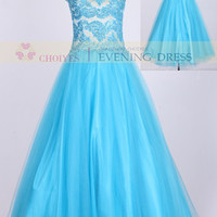 Hot Sale 2014 Sky Blue Lace Top Prom Dresses 2014 Sleeveless Ball Gown Wedding Dress, View prom dress, Choiyes Evening Dress Product Details from Chaozhou Choiyes Evening Dress Co., Ltd. on Alibaba.com
