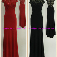 Choiyes J50384 Black Embroidered Cap Sleeve Hot-Fix Stone Scoop-Neck Chiffon Lace Long Evening dress|mother of the bride dress, View mother of the bride dress, CHOIYES Product Details from Chaozhou Choiyes Evening Dress Co., Ltd. on Alibaba.com