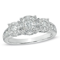 1 CT. T.W. Diamond Cluster Three Stone Engagement Ring in 14K White Gold - View All Rings - Zales