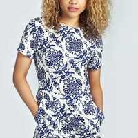 Macy Capped Sleeve Floral Print Playsuit