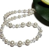 White Pearl and Crystal Necklace Wedding Bride Handmade Jewelry