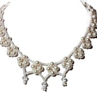 White Pearl and Crystal Necklace Wedding Bridal Hand Woven Jewelry