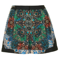 Folk Print Shorts - Navy Blue