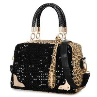 Metallic Leopard Print Sequins Black Tote Bag Handbag