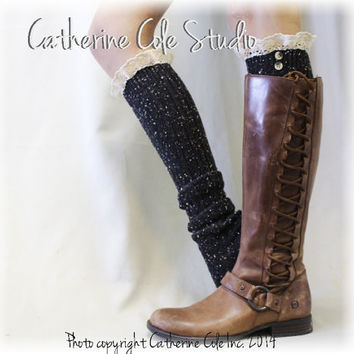 NORDIC WOODS Black flecks Boot socks tall boot socks leg warmers knit boot socks knee socks womens lace socks Catherine Cole Studio BKS2BL
