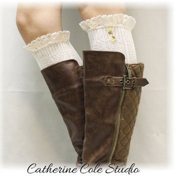SWISS LACE ivory Lace boot socks womens boot socks boot socks tall boot socks knee socks tall lace socks buttons Catherine Cole Studio BKS9