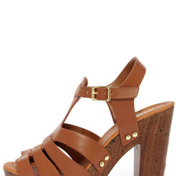Soda Riane Dark Tan Platform Wedge Sandals