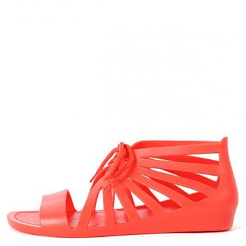 Bamboo Karbrina-01 Lace Up Jelly Wedge Sandals | MakeMeChic.com