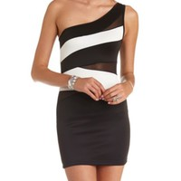 Cut-Out Color Block One Shoulder Bodycon Dress