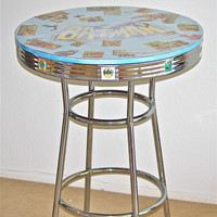 Batman and Avengers Table Bartable Recycled Comic by Polyester10