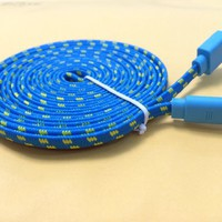 streer®3M 10FT Tangle Free Flat Fabric Braided 8 Pin USB Charger Cable for iPhone 5 5C 5S iPod touch 5th iPad (blue)