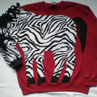 ZEBRA appllique sweatshirt, Animal shirt, clothing to have fun. Custom size and color, small, medium, large, xlarge, Unisex adult sizes