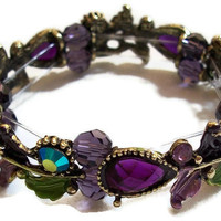 Purple Bracelet Teardrop Crystal Flower and by CreationsByJanetUSA
