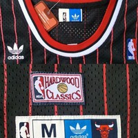 Dennis Rodman Chicago Bulls 91 Throwback Swingman NBA Basketball Jersey Black Hardwood Classic