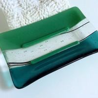 Large Glass Soap Dish in Mineral Green and Sea Blue by bprdesigns