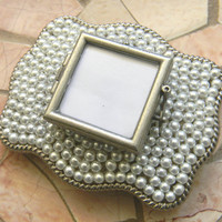 Pearl Belt Buckle Vintage Inspired Glass Locket Photo Picture Custom Belt, Silver Interchangeable Picture Frame Belt Buckle, Pearl Belt