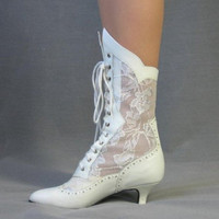 70s Boots Vintage Shoes Polly California Lace Victorian Style New Old Stock Wedding 6/6.5 | Mags Rags