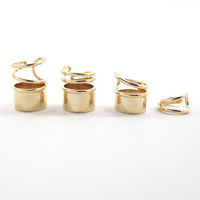 Glamour Stoned – p.m.- Thick and Wired Gold Tube Ring Set