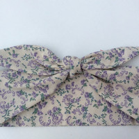 Dolly Headband, Tie-Up - Cream with Lavender Flower Print -  READY TO SHIP!