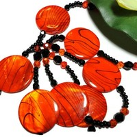 Beaded Lanyard Id Necklace Bold Orange Black Handmade Breakaway