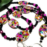 Lanyard Id Badge Necklace Confetti Shell Beads Bold Handmade Jewelry