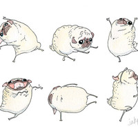 Dancing Pug Art Print - Funny Pug Interpretive Dance Illustration - Reproduction of an Original Ink and Watercolor Pug Painting by InkPug!