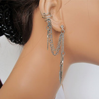 Non Pierced Ear Cuff Double Chain Silver Feather by RazzleDazzleMe