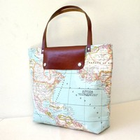 piiqshop - Market Place - World Map Printed Fabric Tote Bag - Rusty Leather - Daily, Weekly, School Bag, Diaper Bag, Book or Magazine Tote Bag